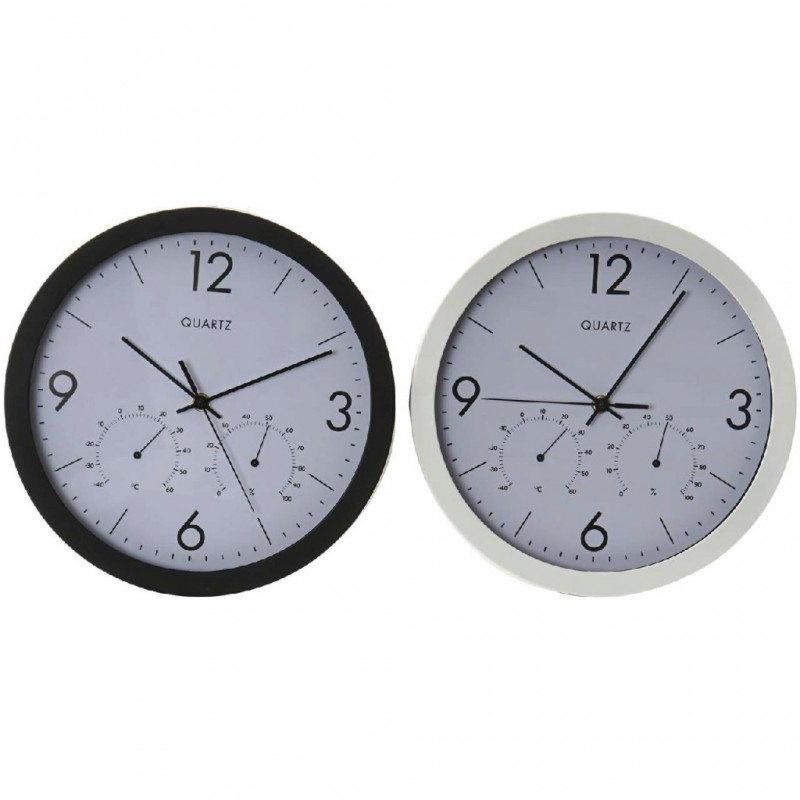 RELOJ PARED TERMOMETRO+HIGROMETRO RE-1575 COLORES SURTIDOS