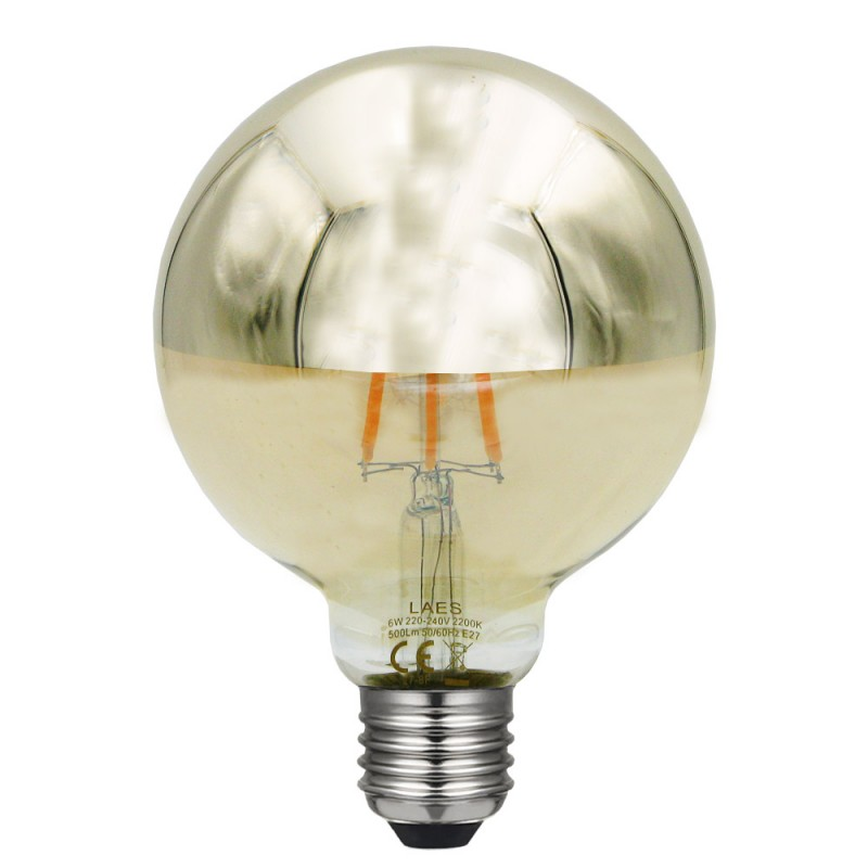 BOMBILLA LED GLOBO SPOT ORO 95mm. 6G9SD2 E27 2200K DIMABLE